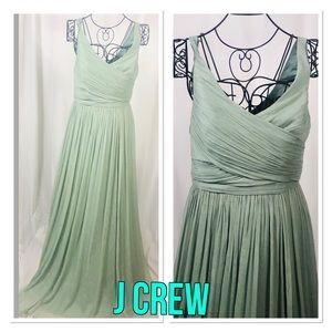 J Crew Womens EVIE Silk Chiffon Dress Long Sz 8
